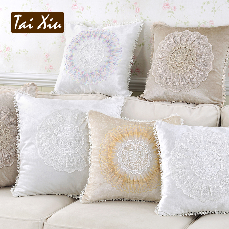 Get Quotations Thailand Embroidered Lace Continental European Sofa Fabric Cushions Office Lumbar Pillow Bed Head