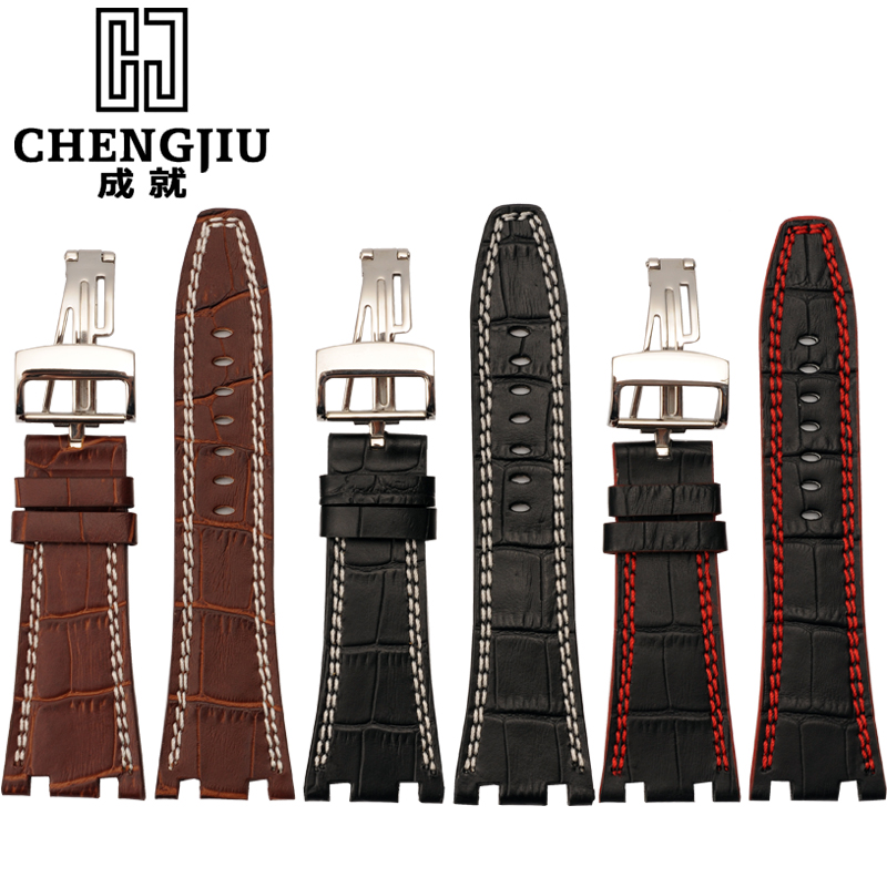 The achievements of the bump mouth leather watch band leather bracelet male adapter ap audemars piguet watches with 28mm black | brown