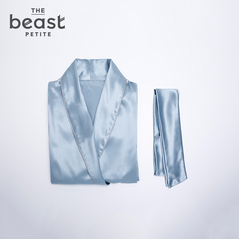 The beast/fauvism shawl collar blue silk pajamas silk nightgown summer