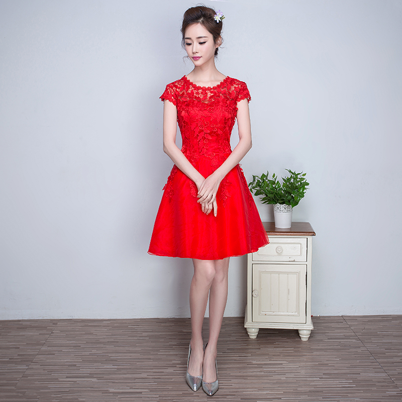 The bride toast clothing 2016 new bridesmaid dress red wedding dress short paragraph korean version of the lace evening dress slim was thin summer