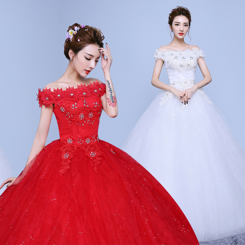 The bride wedding dress korean word shoulder wedding dress wedding dress big red big luxury slim was thin qi wedding