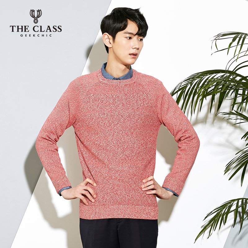 The class hundred good spring and autumn casual men's fashion round neck long sleeve knit sweater COKT210A