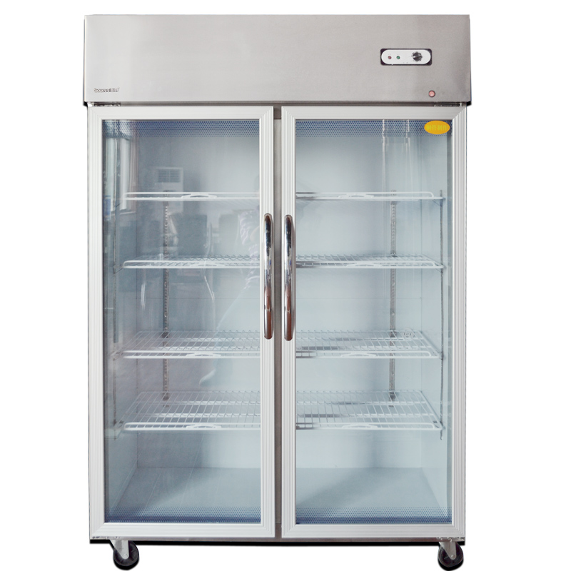 The first kitchen 04-2B refrigerated display cabinets stainless steel big two vertical storage cabinets glass display cabinet showcase