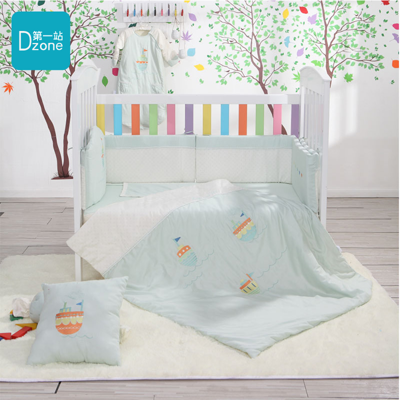 The first stop happy journey comforter set six sets of newborn baby bedding bed around cotton baby bedding