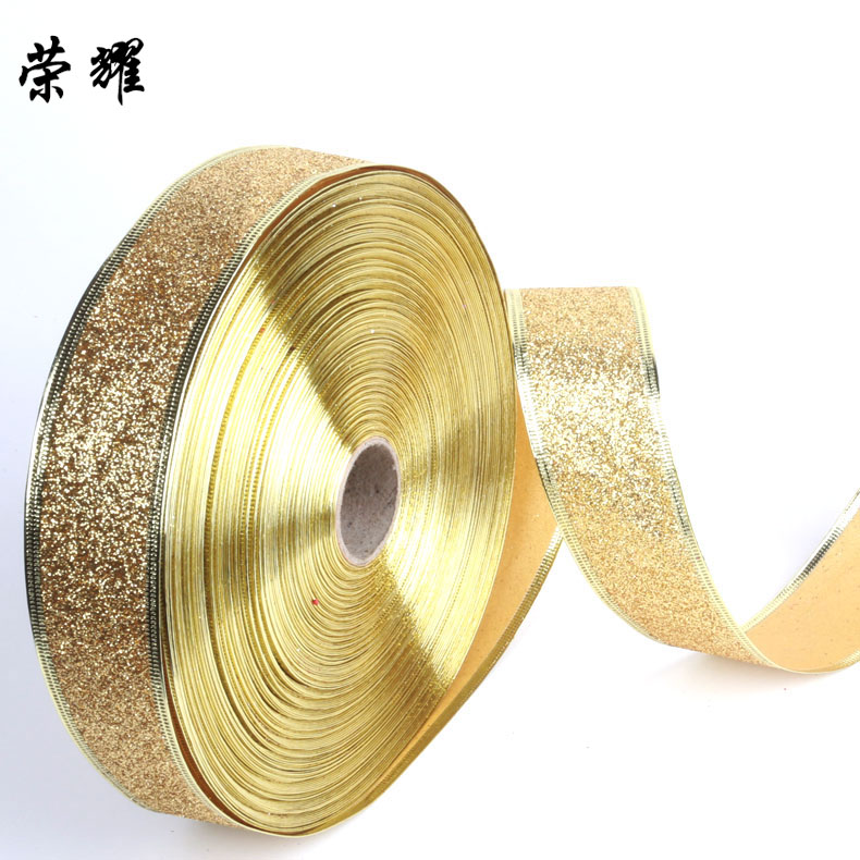 The glory of the christmas tree decorations golden glitter ribbon ribbon diy ribbon bow ribbon 5cm wide