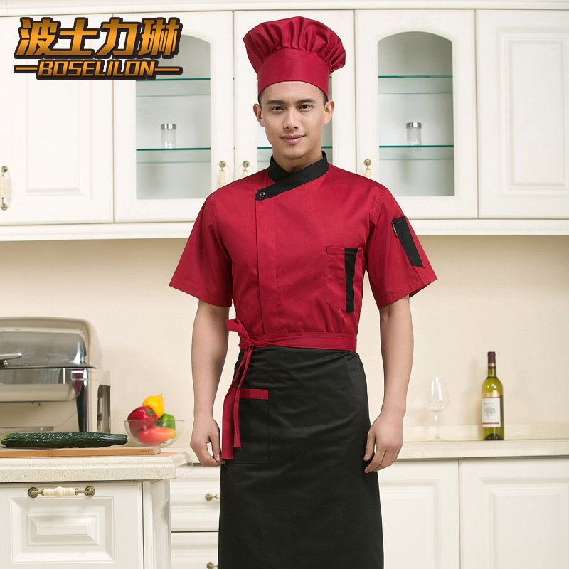 The hotel chef clothing short sleeve summer new short sleeve chef service hotel chef clothing chef uniforms chef clothing single breasted