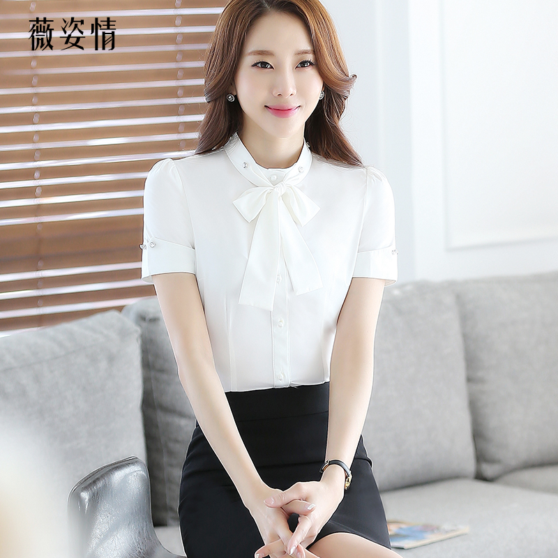 The hotel reception overalls female beauty salon professional suite catering waiter sleeved shirt white shirt and bow