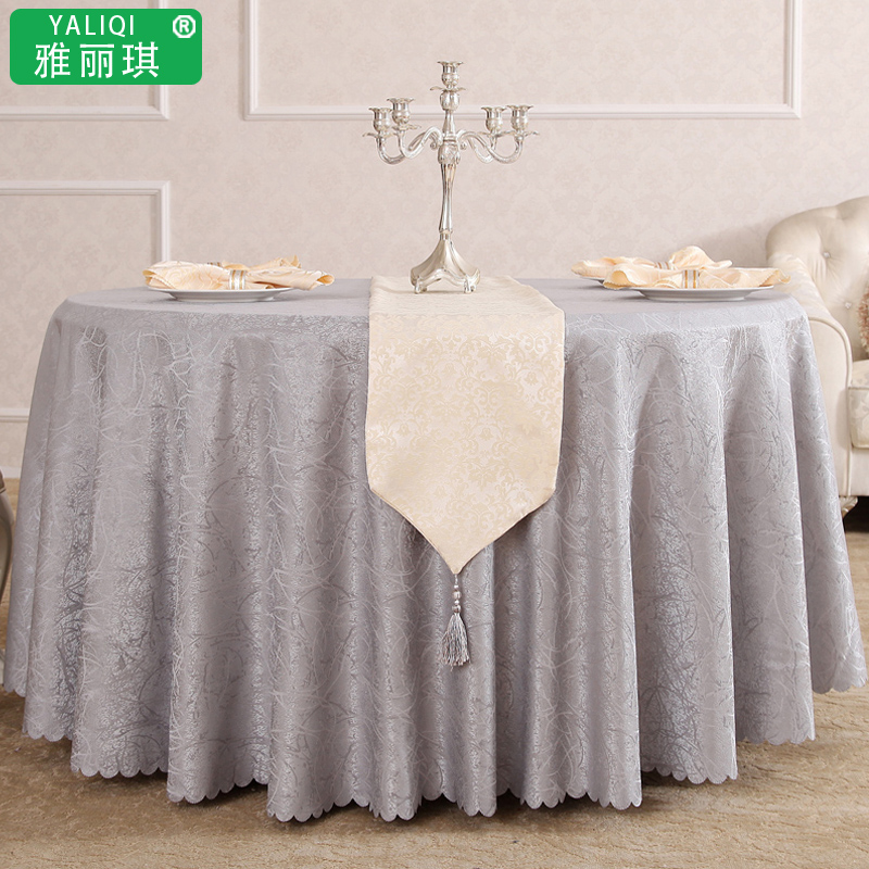 The hotel restaurant tablecloth round tablecloth silver yellow cheap coffee table cloth tablecloth table cloth fabric taiwan