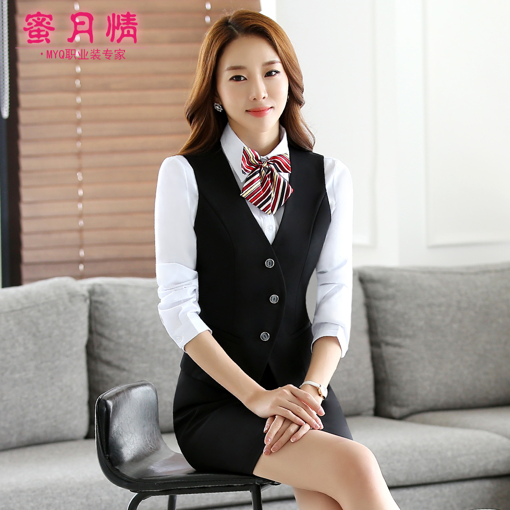 The hotel restaurant waiter overalls fall and winter clothes female restaurant ktv cinema vest suit female profession overalls ol