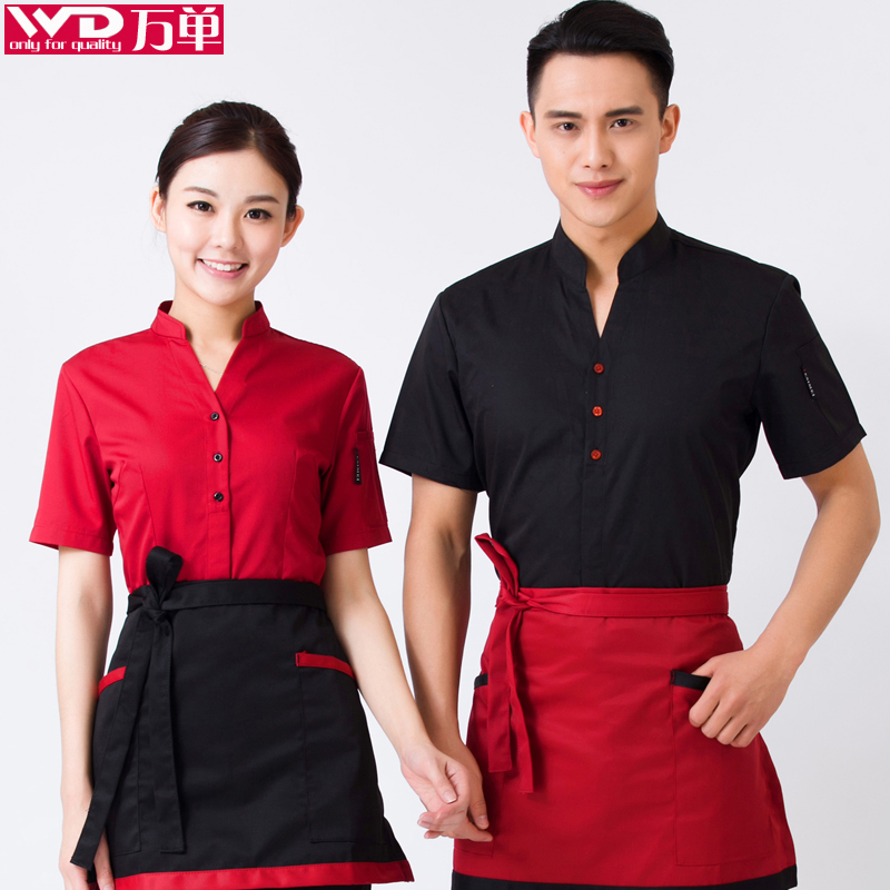 The hotel restaurant waiter overalls summer chinese restaurant restaurant restaurant waiter overalls summer clothing short sleeve