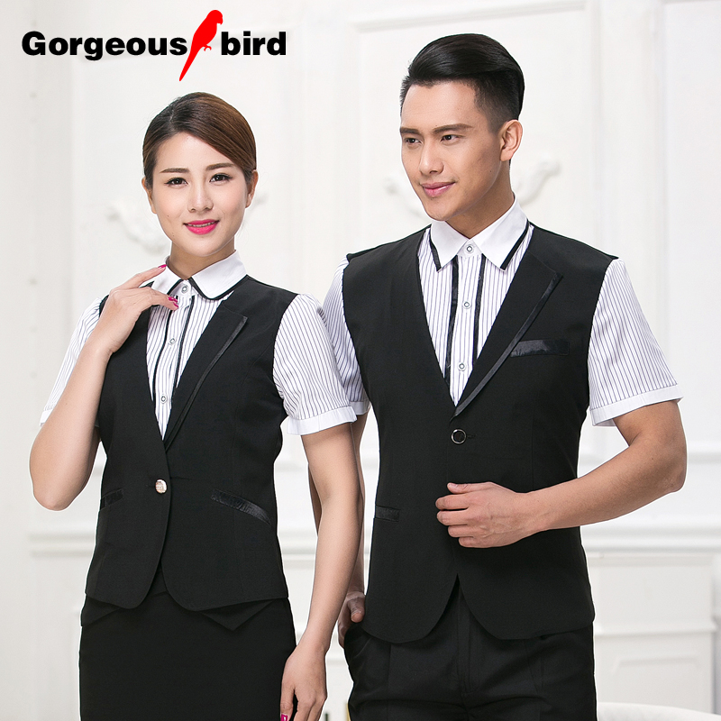 The hotel restaurant waiter overalls summer short sleeve shirt coffee cafe internet cafe clubhouse restaurant overalls pot shop