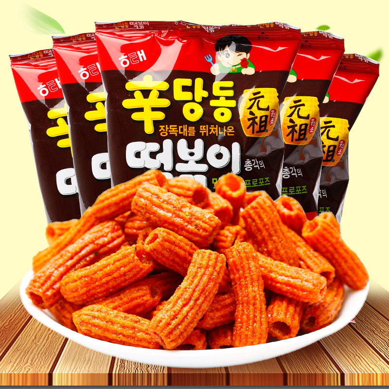 The marine too sweet tteokbokki article 110g * 5 south korea imported snacks fried rice cake pieces fewerproteinsand Rice cake pieces