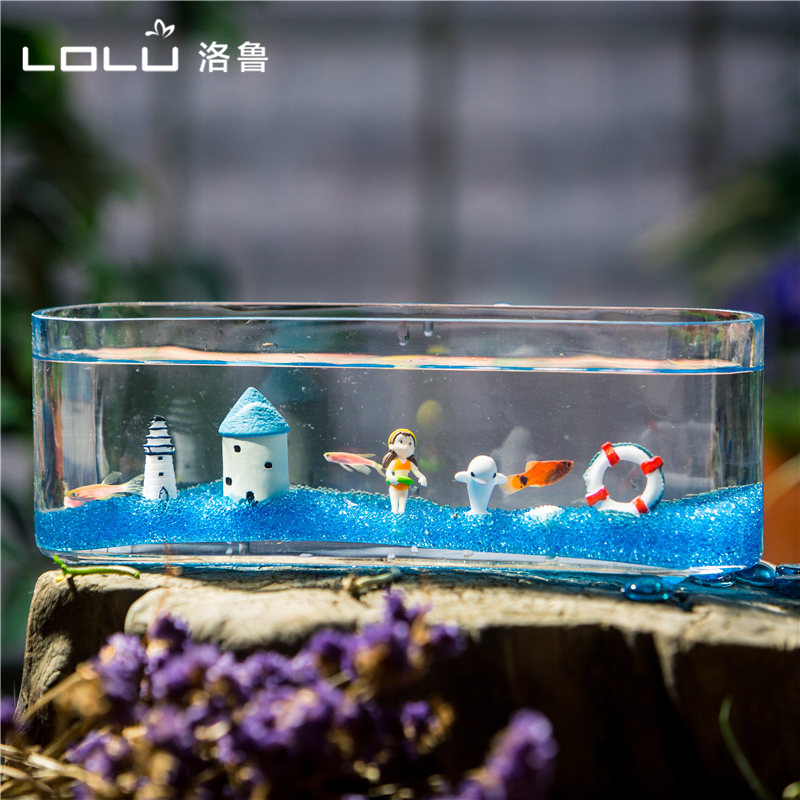 The mediterranean rectangular glass aquarium goldfish bowl small office desktop aquarium betta fighting fish tank landscaping plants