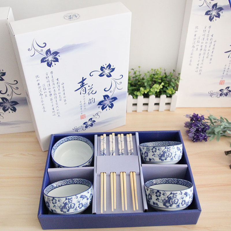 The more natural chinese blue and white porcelain tableware suit crockery porcelain tableware 8 sets of festive gift ideas