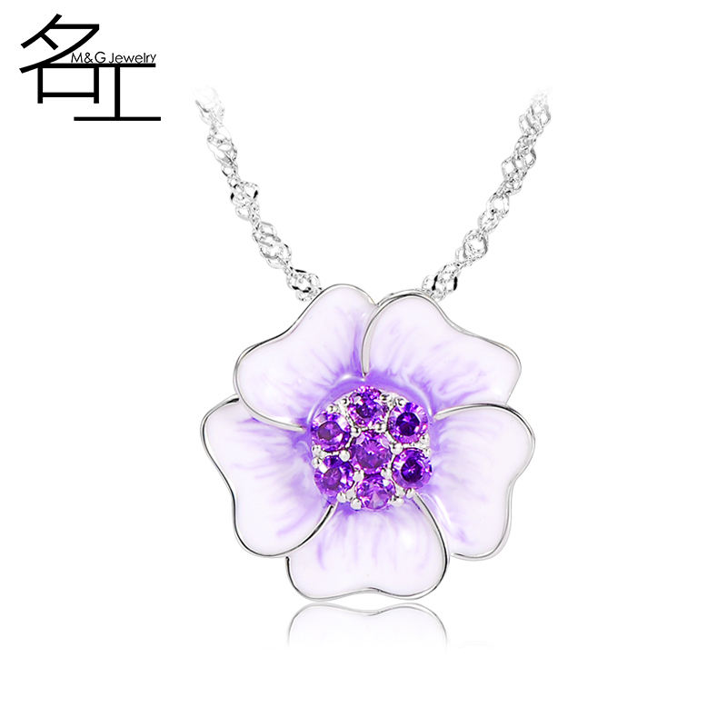 The name of the workers necklace female korean version of the trend of fashion personality wild short paragraph wave chain sweater chain pendant flower pendant