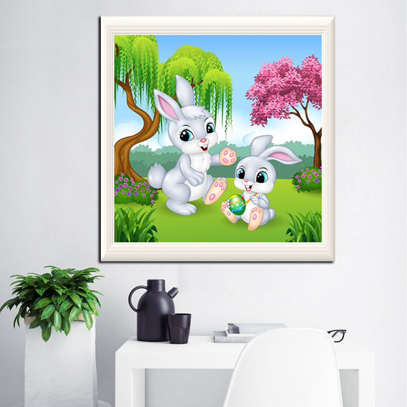 The new 5d diamond diamond sticker diy diamond diamond embroidery living room painted diamond drill point drill stitch cartoon cute bunny