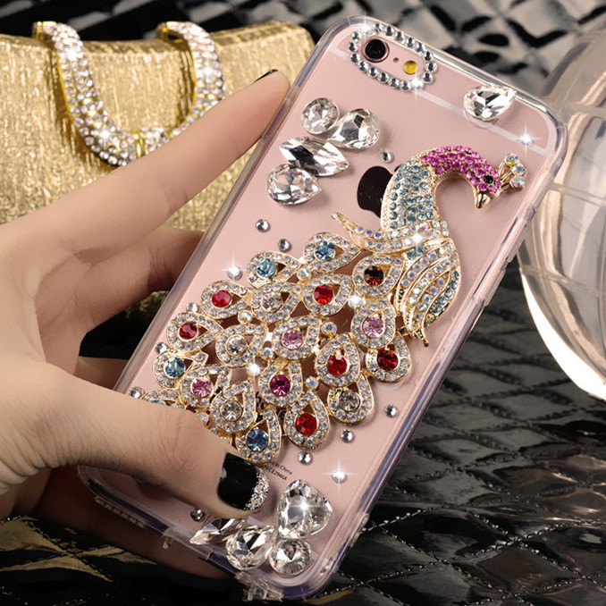 The new apple 4s diamond mobile phone sets apple 4 iphone4s protective shell diy custom transparent hard shell influx of women