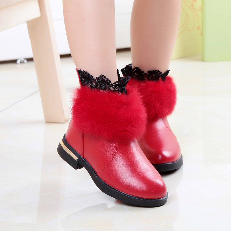 The new autumn and winter children big girl shoes real rabbit fur boots casual shoes princess shoes girls fashion boots