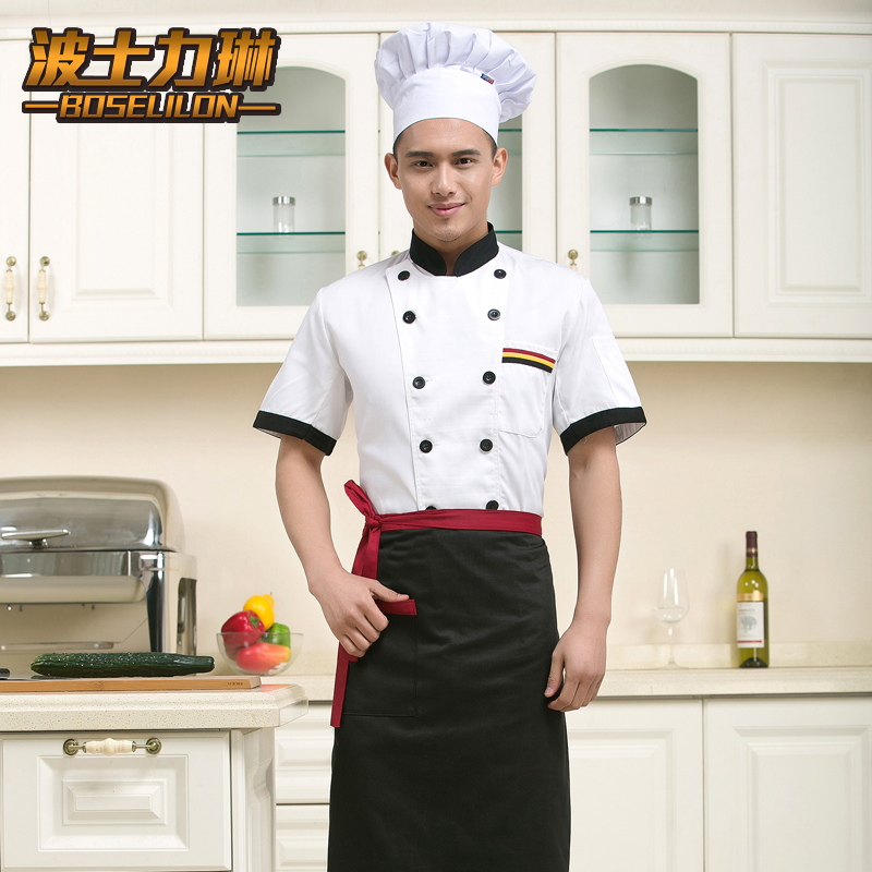 The new chef service men and women short sleeve spring and summer kitchen chef uniforms chef service hotel chef service hotel chef clothing chef uniforms