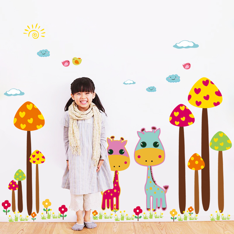 The new children's cute giraffe cartoon stickers wall stickers wall stickers children's room decoration stickers kindergarten teacher