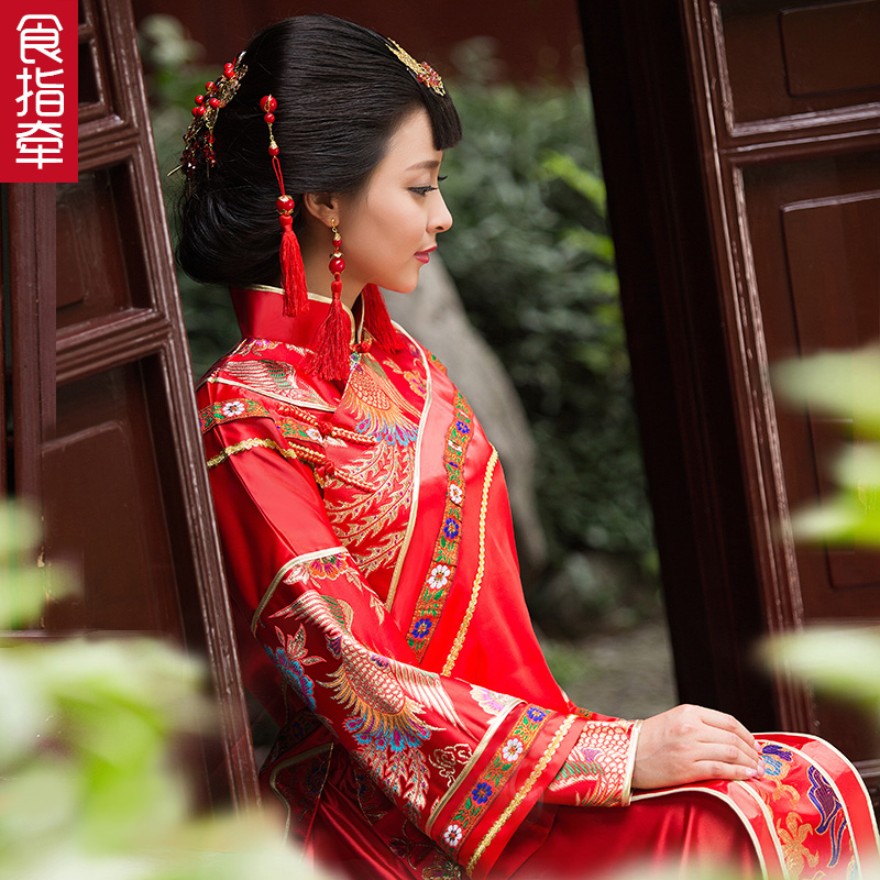 The new chinese hi clothing xiu bride wedding dress costume xiu xiu kimono costume red dragon and phoenix gown fall and winter