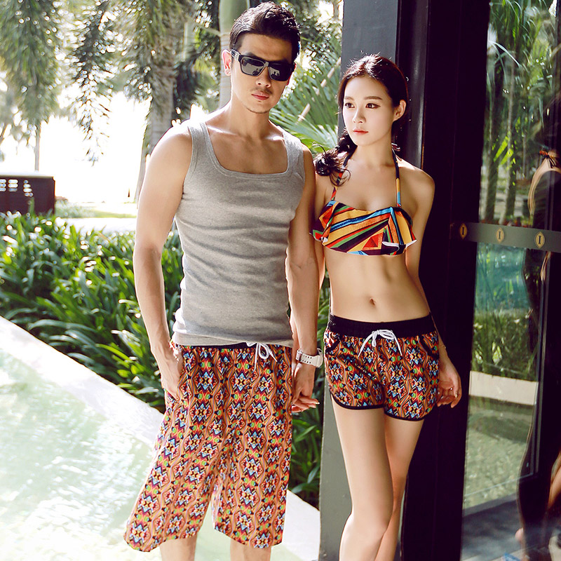 The new couple beach lovers beach essential seaside resort beach pants suit suit men's casual blouse
