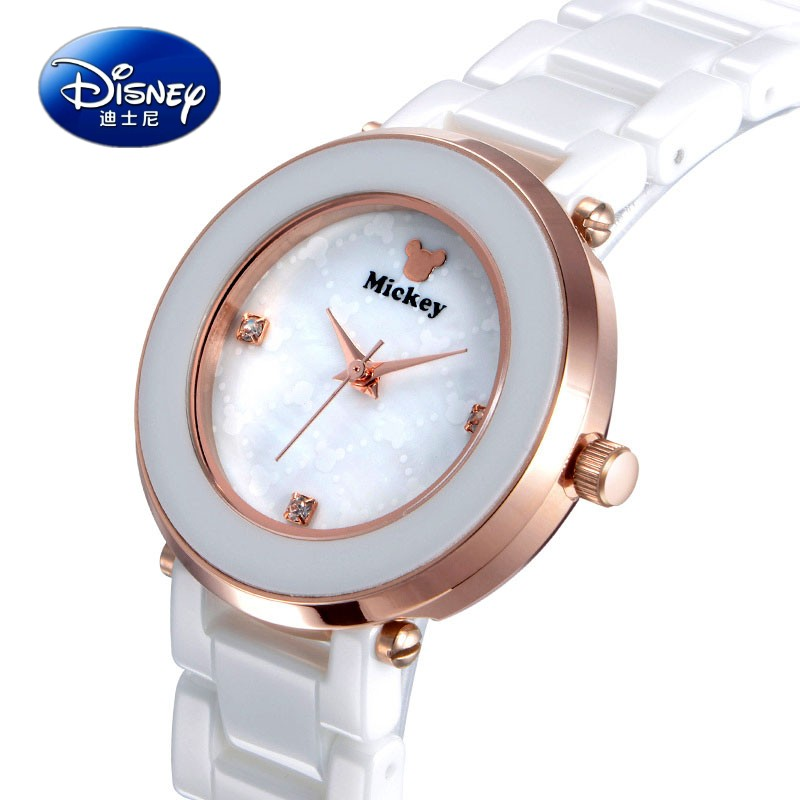 The new disney mickey watches ladies watches white ceramic table fashion female form diamond ladies watch student table