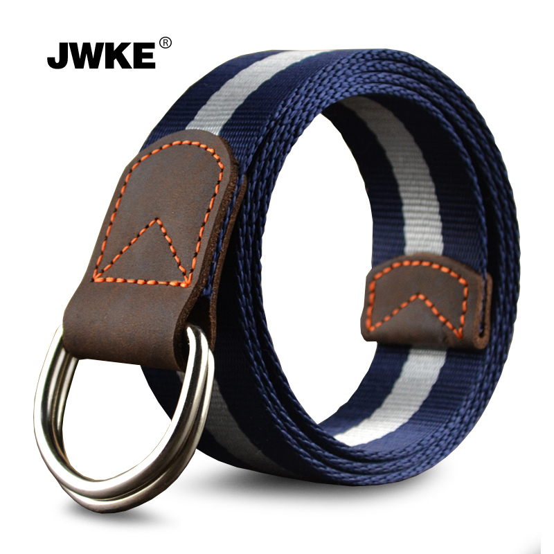 The new double loop buckle canvas belt men outdoor leisure leather stitching leather belt belt trend of young students