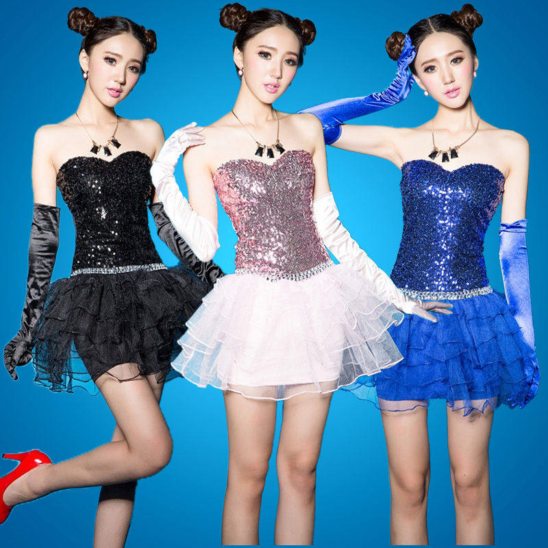 The new dress costumes dance skirt modern dance performance clothing sequined tutu princess dress bridesmaid dress bridesmaid dress skirt dress bra