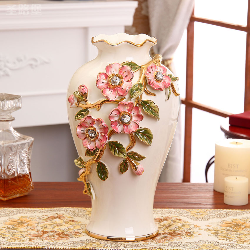 The new european creative ceramic vase ornaments floral living room decorative porcelain ornaments home accessories vases