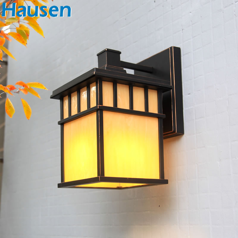 The new european outdoor wall lamp wall lamp wall lamp outdoor garden lights waterproof outdoor terrace wall lamp square lamp facades wall lamp wall lamp marble wall sconce