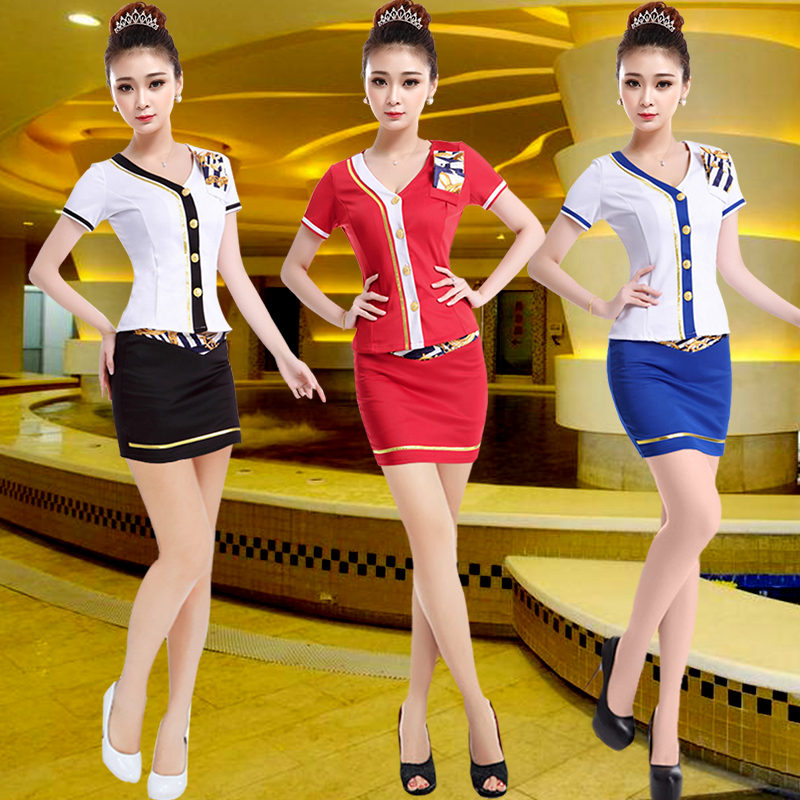 The new hotel beauty salon technician sexy stewardess stewardess dress clothes foot foot technician overalls dress suits sauna suits technician foot