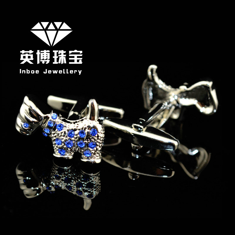The new inbev cufflinks cufflinks men's cufflinks french shirt cufflinks cufflinks blue crystal dog