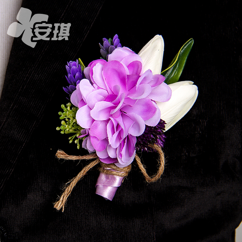 The new korean charm purple tie groom/groomsmen boutonniere corsage bride/bridesmaid flower wrist wrist flower wedding celebration blue and red retro