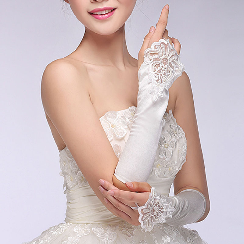The new korean fashion flash diamond bow short paragraph lace bridal gloves fingerless bridal wedding accessories 07