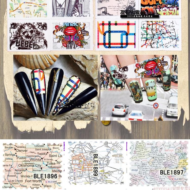 The new nail jewelry watermark decals nail sticker nail polish stickers affixed stamps stamp series map series