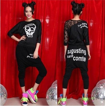 The new nightclub hiphop hip-hop hip-hop t-shirt female skull t-shirt hip-hop jazz jazz ds sexy costumes