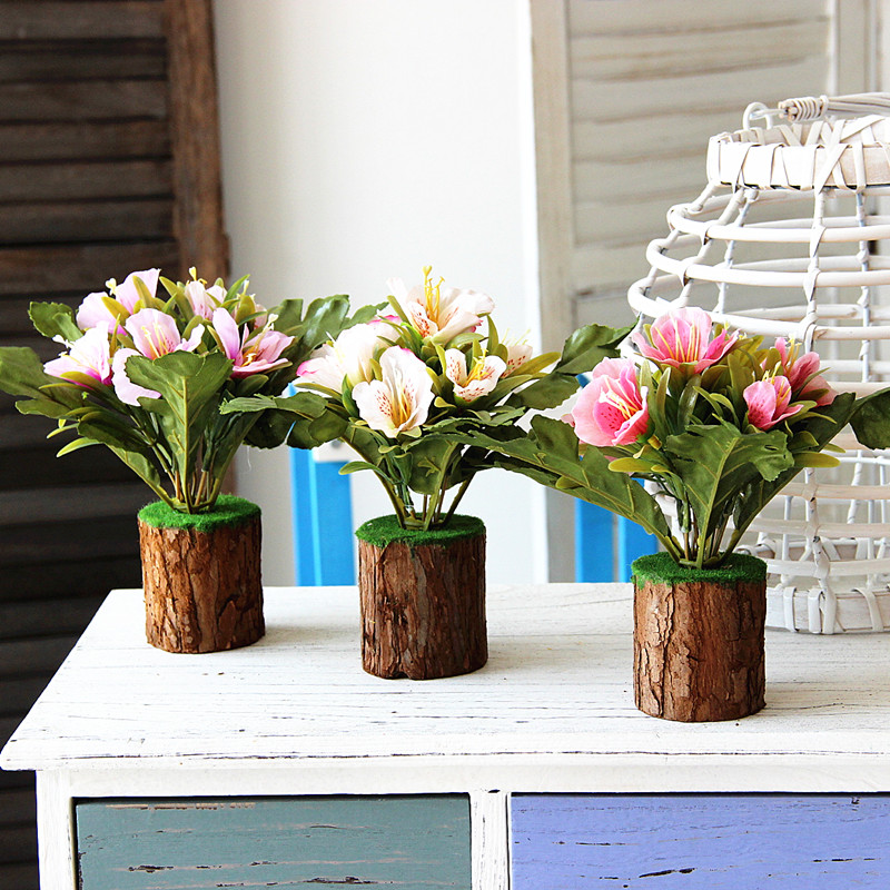 The new promotional ideas wooden pier wood flower simulation small potted plants artificial flowers arts and crafts home decoration placed