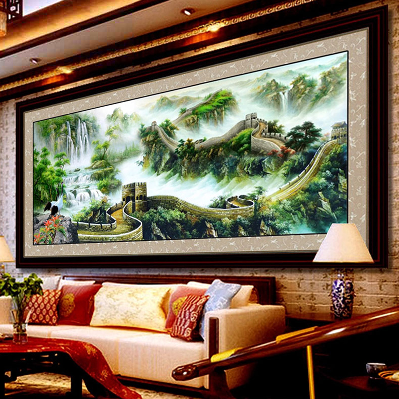 The new silk printing precise stitch living room large painting landscapes miles graptolites extra cash flow to make money version of the great wall