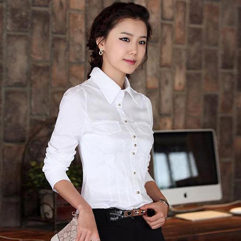 The new spring 2016 korean version of slim professional women long sleeve shirt blouse student white shirt women bottoming shirt