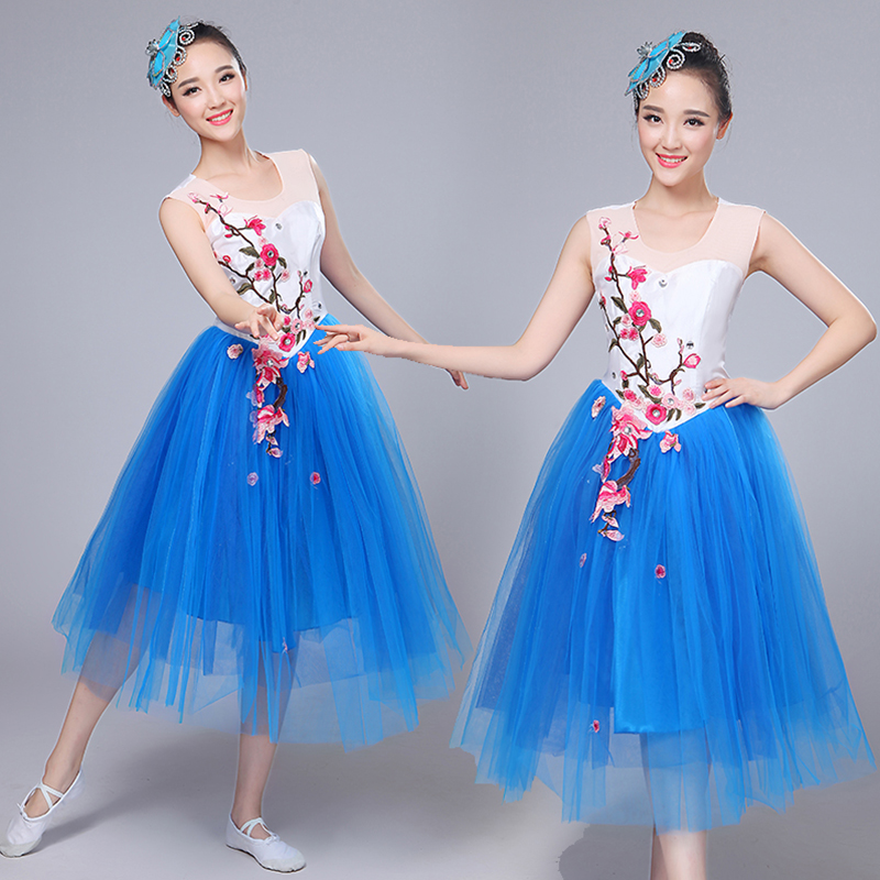 The new stage costumes dance skirt adult chorus girl opening dance clothing modern dance performance clothing clothing