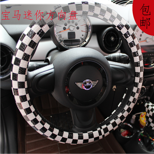 The new steering wheel cover applies to the bmw mini mini bmw mini mercedes smart track black and white plaid