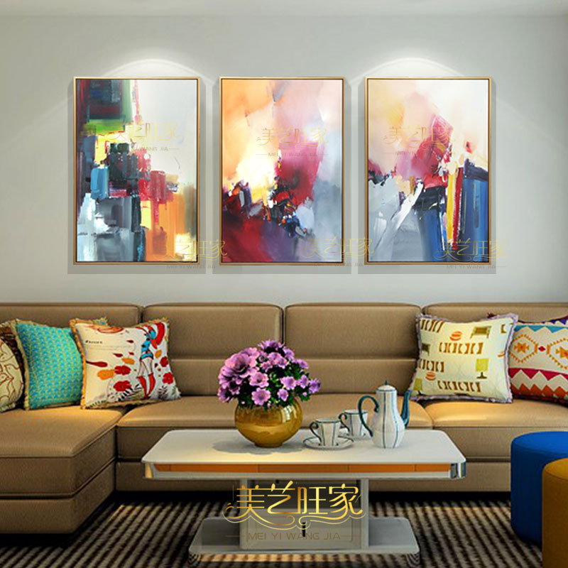 The new triple combination sets fitted handmade abstract oil painting modern minimalist living room decorative painting paintings vertical banner