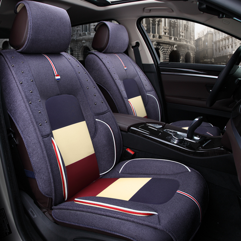 The new upgrade four seasons flax american flag union jack british style fashion comfortable and breathable car seat cushion car seat cover