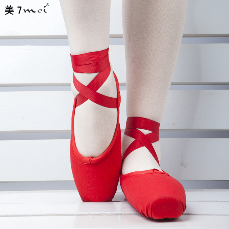 Get Quotations · The new us 7 satin ballet pointe shoes adult children dance shoes ballet toe red hard