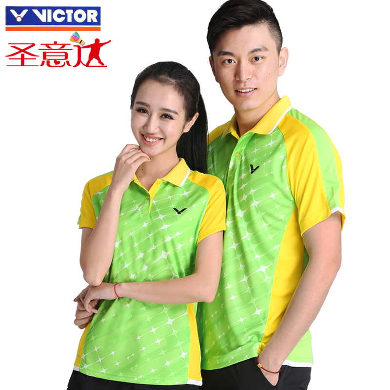 The new victory victor victor badminton sportswear short sleeve t-shirt couple models for male and female single coat
