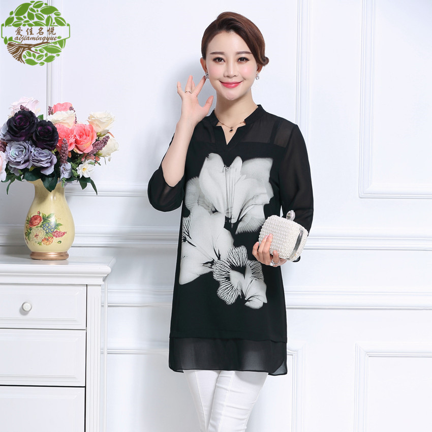 The new xl short sleeve chiffon shirt large size women was thin fat mm summer long section printed v-neck t-shirt shirt