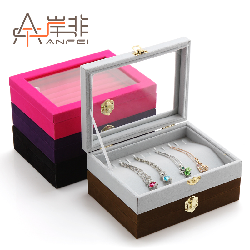 The other side of the non quality suede jewelry box ring box earring jewelry display props jewelry display storage box