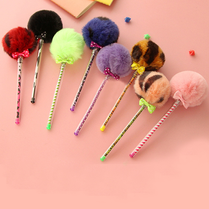 The same paragraph freaky story of color cute creative plush fur ball gel pen stylus pen tube black pen