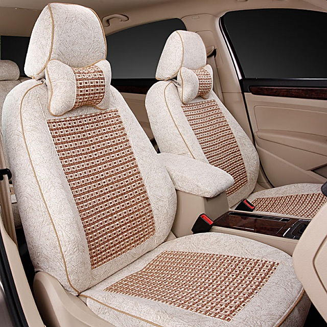 The whole package all inclusive car seat summer ice silk new plant new breathable seat cover universal car mats sets of spring and summer women